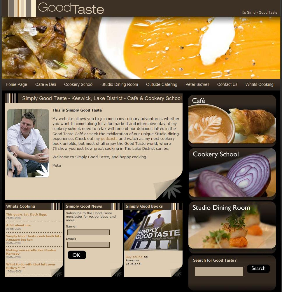 Screenshot of Simply Good Taste homepage