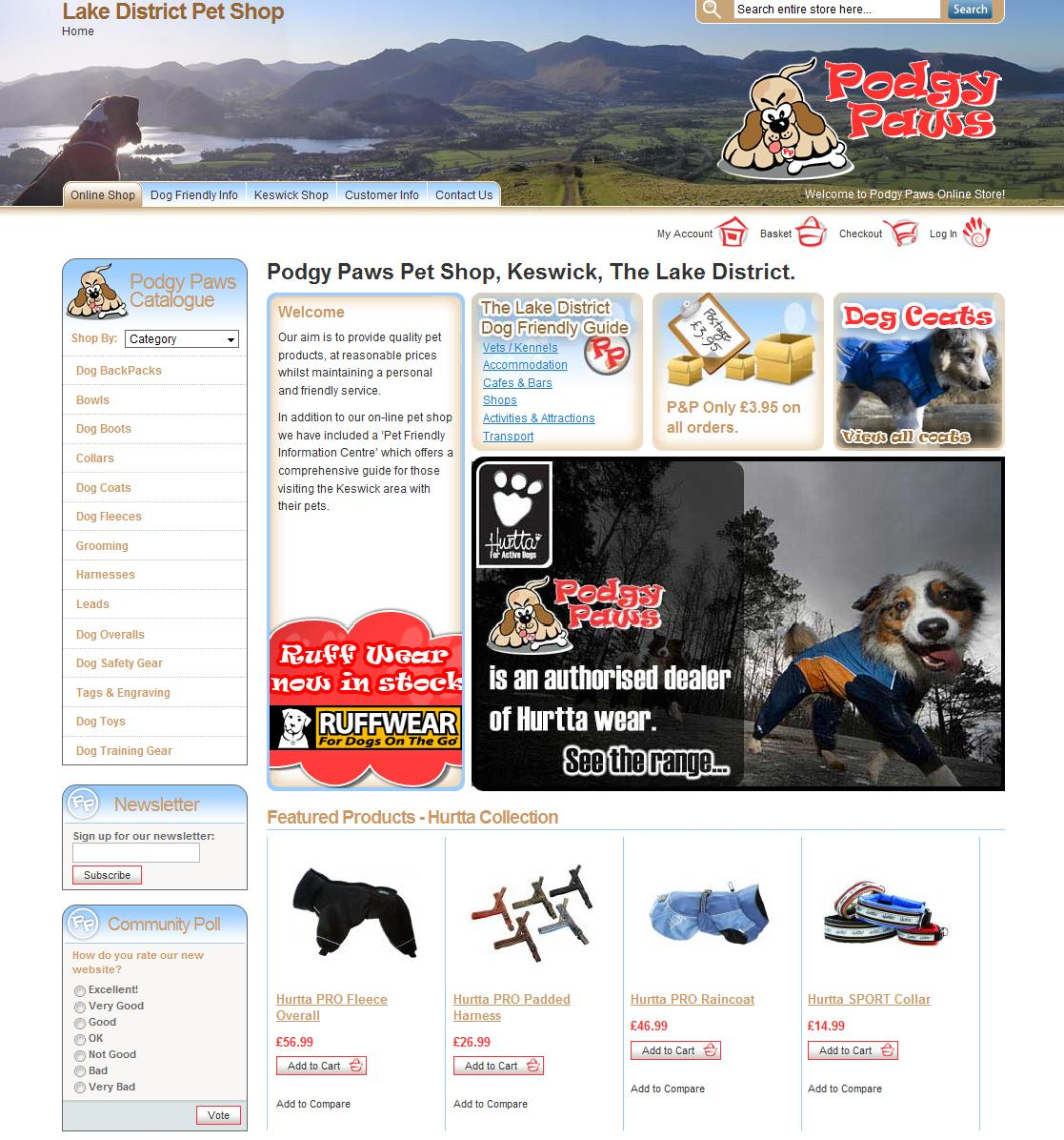 Screenshot of Podgy Paws homepage