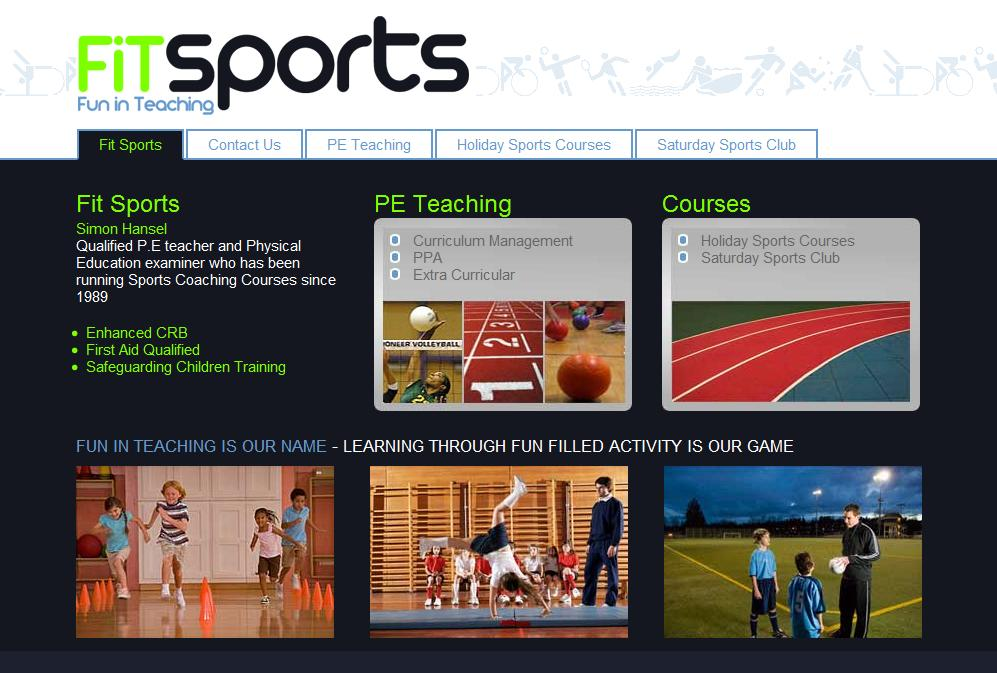Screenshot of the FiTsports homepage