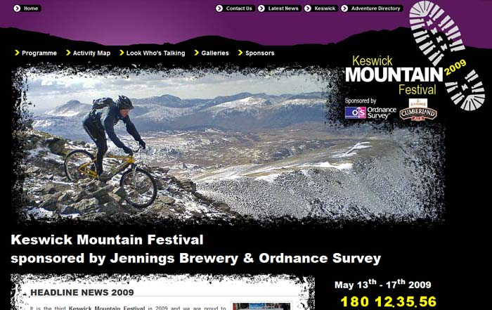 Screenshot of the Keswick Mountain Festival Website